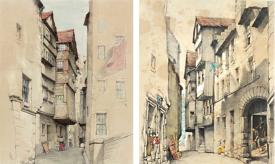dessins de James Drummond - Fountain Close à Edimbourg, 1877 et 1853