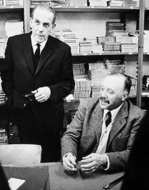 Gustave Roud et Maurice Chappaz lors d'une séance de signature chez Payot en mars 1968