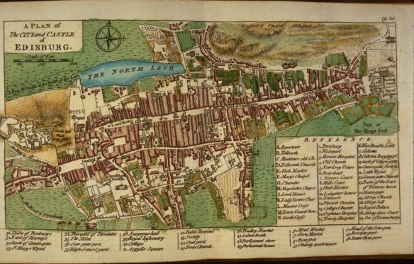 John Rocque - plan de la Olde Town d'Edimbourg et le North Loch en 1764