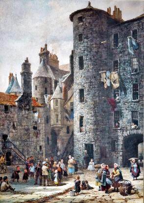 Louise Rayner - Figures in an Edinburgh Courtyard