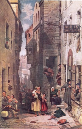 Painting showing, on the right, the entrance to Johnnie Dowie's, Libberton's Wynd, tavern which was frequented by Enlightenment figures such as David Hume, vers 1854