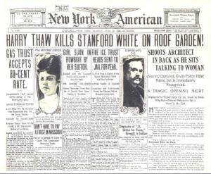 Une du New York Time pour le meurtre de Stanford White