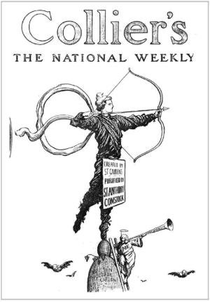 caricateure de couverture du journal Collier se moquant de l'action de Comstock contre la nudité de Diane