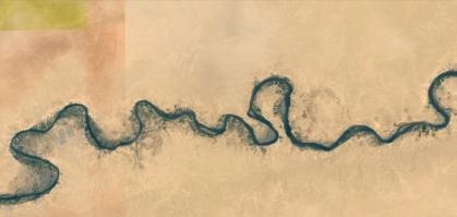 Images satellites de l'Euphrate près de la frontière Syrie - Irak