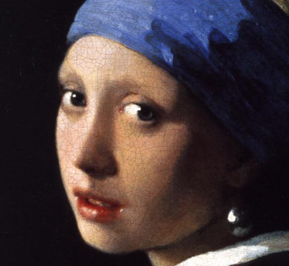 Johannes Vermeer (1632-1675) - La jeune fille à la perle (détail), 1665