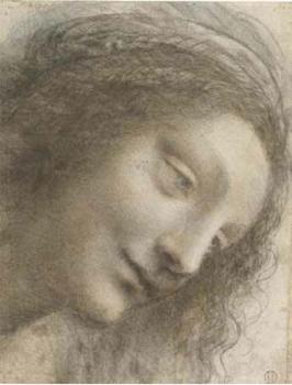 Léonard de Vinci - Etude pour la tête de la Vierge, vers 1507-1510