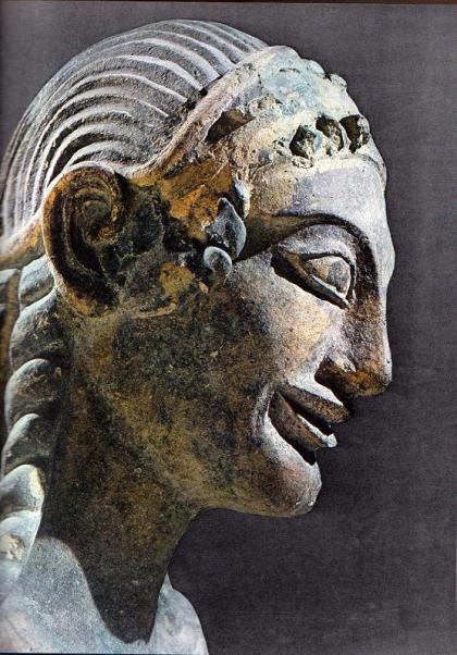 Tête de l'Apollon de Véles, terre cuite, Vie siècle av. notre ère