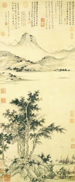 Attente du bac près d'un fleuve en automne, 1351, par le peintre chinois Sheng Mao