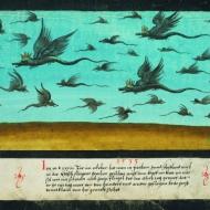 """Dragons survolant la Bohème - """" Le Livre des Miracles """", vers 1533"""