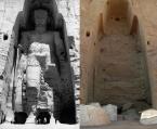 La statue du grand Bouddha (Dipankara) avant et après sa destruction en mars 2001
