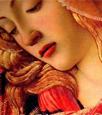 The Madonna of the Magnificat, Detail of the Virgin's face,1482.Sandro Botticelli
