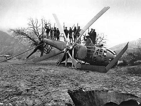 Un hélicoptère soviétique abattu durant la guerre soviéto-afghane de 1979 à 1989