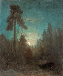 Carl Fredrik Hill (1849-1911), Lune se levant dans les Sapins, 1871