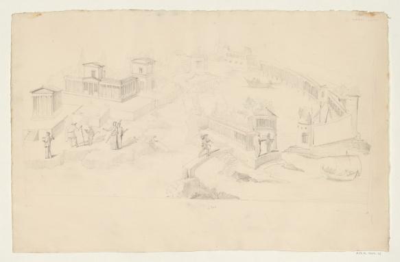 dessin d'une fresque de la maison de la petite fontaine  réalisé par l'architecte Prosper Morey, vers 1833-1834