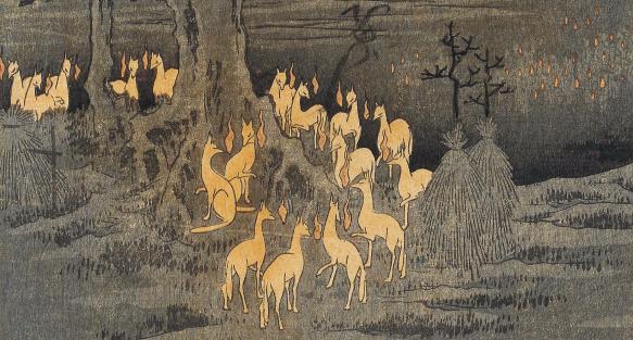 Hiroshige - « Renards de feu la nuit du Nouvel An sous l'arbre Enoki près d'Ōji » (détail)