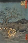 Hiroshige - « Renards de feu la nuit du Nouvel An sous l'arbre Enoki près d'Ōji »