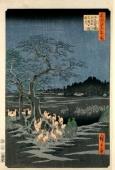 Hiroshige- Kitsunebi durant la Nuit du Nouvel An sous l'Arbre Enoki Tree près de Ōji », dans Cent vues d'Edo. Chaque renard a un kitsunebi flottant devant sa tête