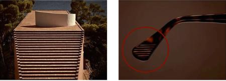 l'escalier de la villa Malaparte à Capri et le détail des branches de lunettes Persol