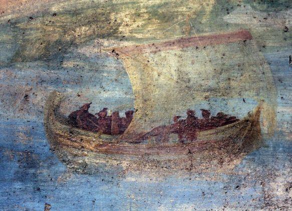 Navire à voiles et ses passagers, fresque 50-60 après J-C., maison de la petite fontaine, Pompei