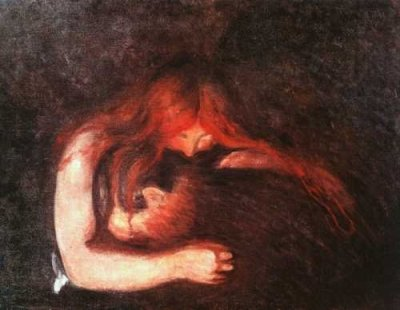 Edvard Munch - Baiser sur les cheveux, 1915