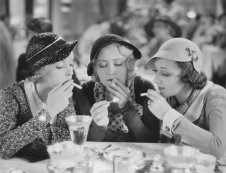 Bette Davis (left), Joan Blondell (center), and Ann Dvorak (right) in Mervyn LeRoy's THREE ON A MATCH (1932). Courtesy Photofest. Playing 8/4.