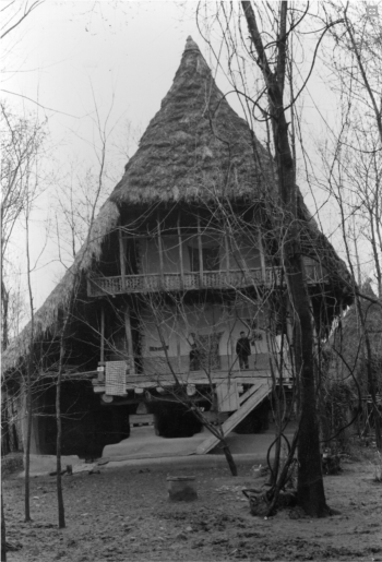 Iran - maison de 2 étages avec plancher bas décollé du sol dans le delta du Safidrud (mer Caspienne), 1974