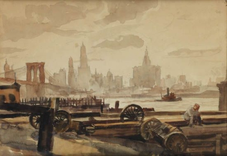 Reginald Marsh - Manhattan Skyline, 1929