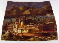 Reginald Marsh - Atlantic liner in harbor with Tug (mural study, US Customs House, NY), 1937