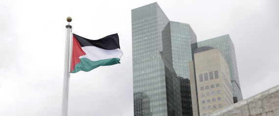 The State of Palestine flag flies for the first time at U.N. headquarters, Wednesday, Sept. 30, 2015. (AP Photo/Seth Wenig)