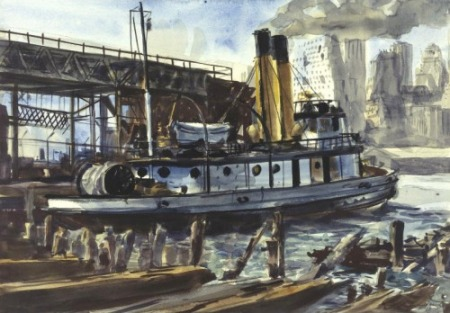 Reginald Marsh (American, 1898-1954), Tugboat at a Dockside with New York, 1932