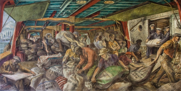 Reginald Marsh - le déchargement du courrier, peinture murale dans le William Jefferson Clinton Federal Building, 1936