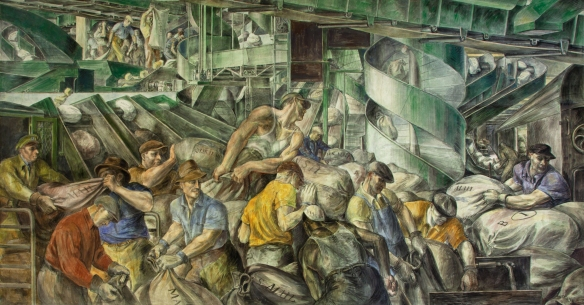 Reginald Marsh - Le tri du courrier (1936), Peinture murale dans le William Jefferson Clinton Federal Building, 1936