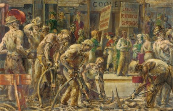 Reginald Marsh - Travaux dans la 14te rue, 1936