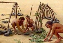 site de Terra Amata (Nice) - reconstitution montage hutte (dessin Wilson)