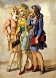 Reginald Marsh - Three girls standing