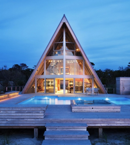 beachfront-a-frame-with-wide-open-interior-1-straight-deck-evening