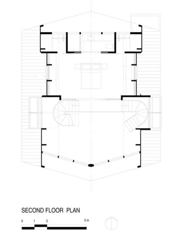 A-frame house à Fire Island (NY) - Plan du niveau 1 - Bromley Caldari Architects