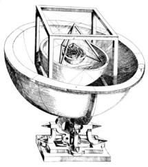 Kepler - Diagramme du système solaire extrait de 'mystères cosmographiques' où s'imbriquent les 5 polygones fondamentaux et les sphères