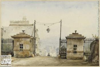 Pierre-Luc Cicéri (1782-1868). %22La barrière de Ménilmontant en 1830 - Aquarelle, 1830