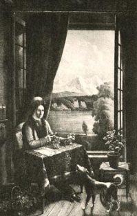 Rousseau écrivant à l'île de Saint-Pierre - © Collection Jean-Jacques Monney, Genève