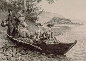 Rousseau sur une barque à l'île Saint-Pierre