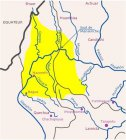 Territoire aguaruna (groupe Jivaro, Pérou) (carte retravaillée par S. Baud, 2003).
