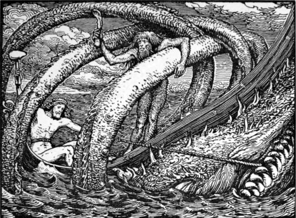 La partie de pêche de Thor. Illustration pour la Hymiskviða de W. G. Collingwood (1908)