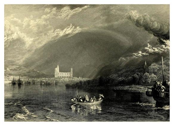 Joseph Mallord William Turner - les ruines de Jumièges vues de la Seine, gravure publiée vers 1834 -