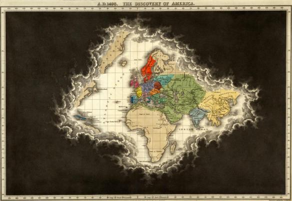 Le monde connu au moment de la découverte de l'Amérique en 1498