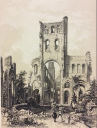 Grande estampe Ruine de l'Abbaye de Jumièges 1852