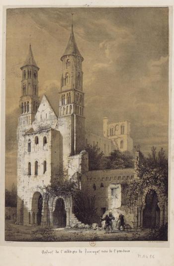 Truchot - Entrée de l'abbaye de Jumièges (lithographie), 1820 VPRAF vol.1 pl.6