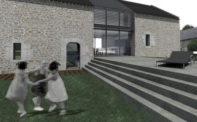 Atome architectes - Morbihan, Projet de réhabilitation d'une longère ancienne, 2013