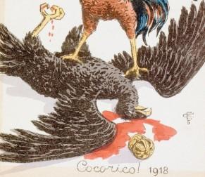 Carte-postale-1918-montrant-francais-terrassant-aigle-allemand_1_730_520