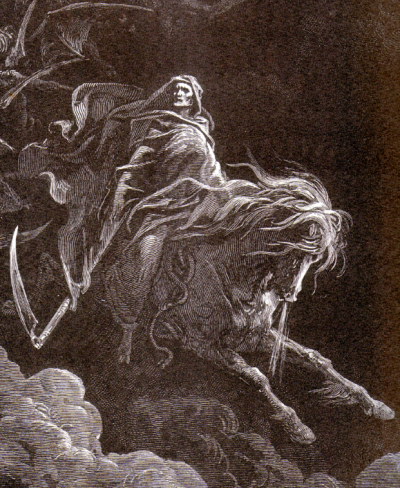 Gustave Doré - Le quatrième cavalier, Mort, sur le cheval pâle - Gravure, 1865